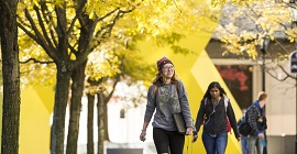 Students walking with fall foliage near Posvar Hall